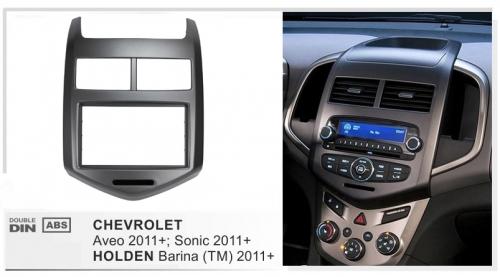 Переходная рамка Chevrolet Aveo 2012 2din черная