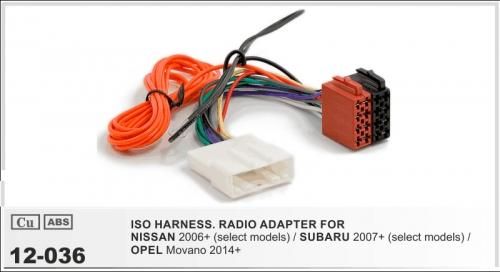 ISO переходник Nissan 2006+, Subaru 2007+, Opel Movano 2014+